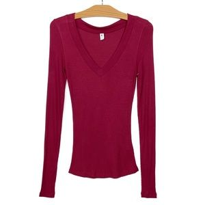 NWOT BP Ribbed Deep V Neck Long Sleeve Top Red S
